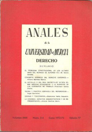 Portada ANALES DE LA UNIVERSIDAD DE MURCIA. DERECHO - VARIOS AUTORES - NOGUES