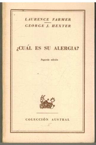 Portada ¿CUAL ES SU ALERGIA? - LAURENCE FARMER / GEORGE J HEXTER - ESPASA CALPE
