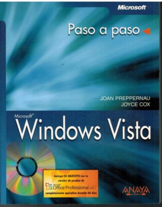 Portada MICROSOFT WINDOWS VISTA. PASO A PASO - JOAN PREPPERNAU / JOYCE COX - ANAYA MULTIMEDIA