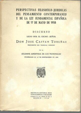 Portada PERSPECTIVAS FILOSOFICO JURIDICAS DEL PENSAMIENTO CONTEMPORANEO - JOSE CASTAN TOBEÑAS - REUS