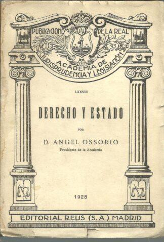 Portada DERECHO Y ESTADO - D ANGEL OSORIO - REUS