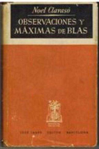Portada OBSERVACIONES Y MAXIMAS DE BLAS - NOEL CLARASO - JOSE JANES BARCELONA